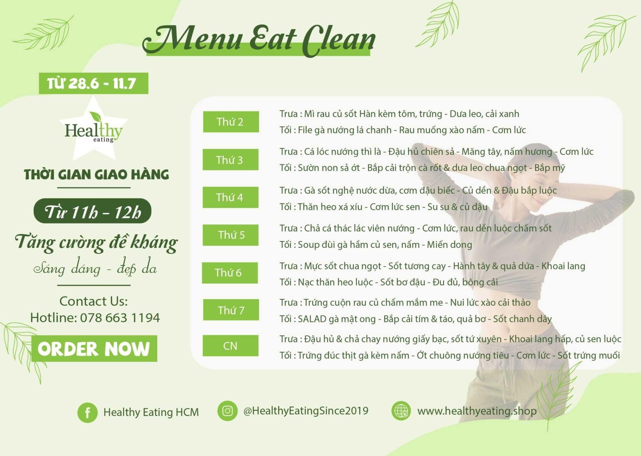 CHẾ ĐỘ ĂN GIẢM CÂN EAT CLEAN
